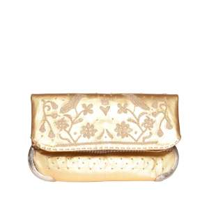 front view golden abury handmade lovebirds clutch bag