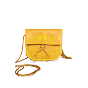 Handmade Yellow Leather Mini Shoulder Bag product Front