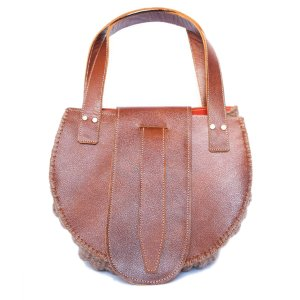 front view Wool and Leather Mini Handbag Anita