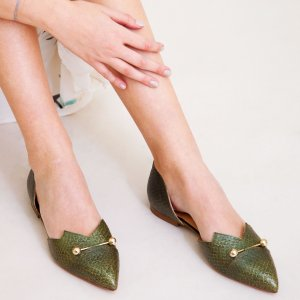 Olive Metallic coloured, sustainable LOULOU Loafer with golden piercings by ALINASCHUERFELD