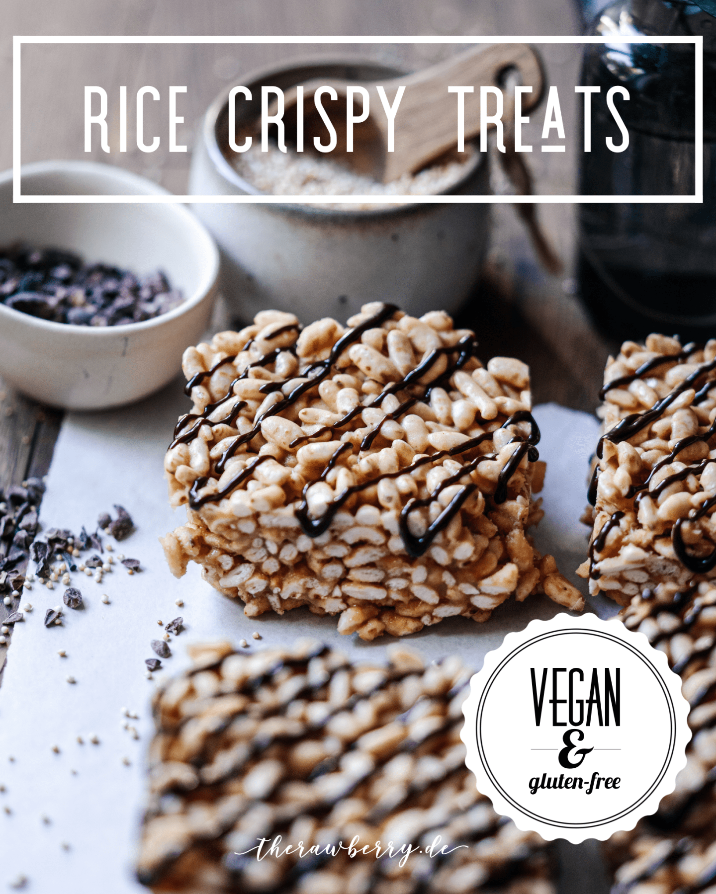 rice crispy treats, Reispops, Reiswaffeln, schokoreiswaffeln, vegan, rice, reis, lecker, delicious, easy, einfach, simple, simpel, treat, süßigkeit, dessert, snack, nachtisch, chocolate, schokolade, glutenfree, gluten-free, glutenfrei, pops, puffed, popped, food, essen, backen, baking, no bake, ohne backen, bars, riegel, marie dorfschmidt, therawberry, plant based, whole foods, diet, diät