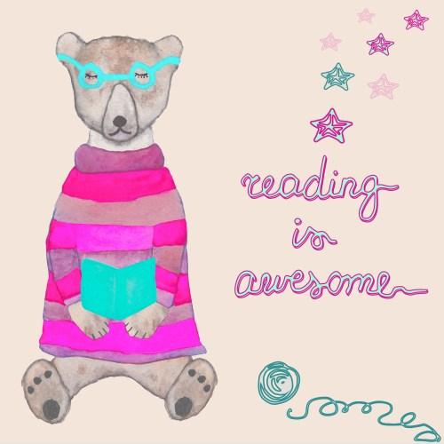 cartoon reading bear