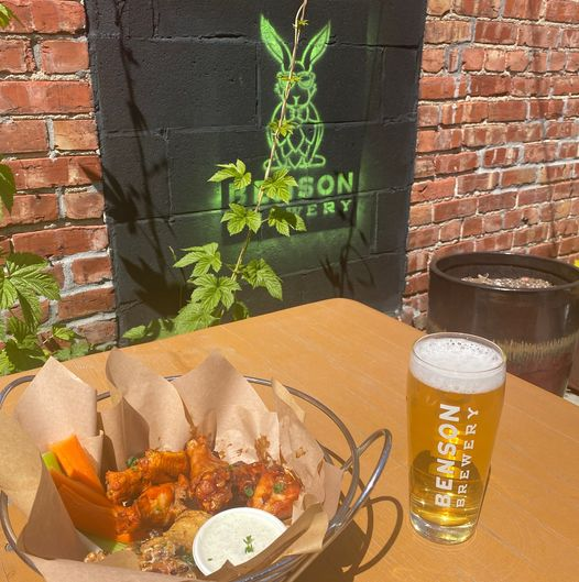 Benson Brewery wings and beer