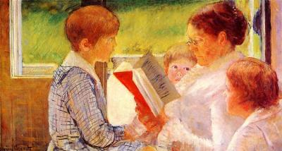 Mrs. Cassatt Reading To Her Grandchildren, by Mary Cassatt, 1880