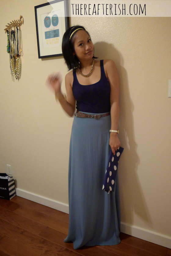 thereafterish, ootd, hawaii style, blue monochrome, how to wear blue monochrome, blue monochromatic, polka dot clutch
