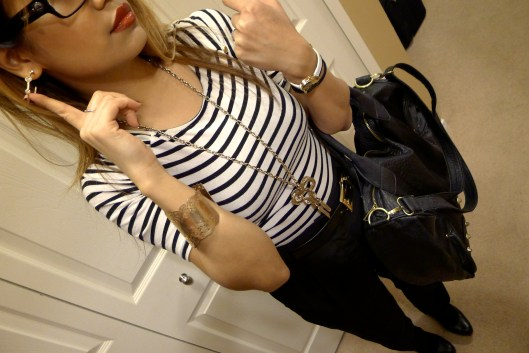 OOTD, Stripes, Americal Apparel high waist trousers
