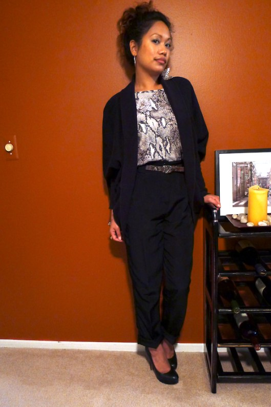 How to Wear Mixed Prints, Snakeskin on Snakeskin, Python Print Blouse, Cocoon Cardigan