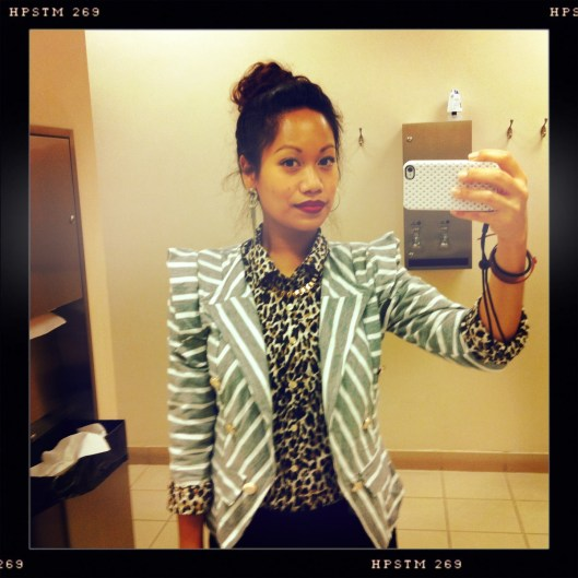 How to Wear Mixed Prints, Leopard With Stripes, Structured Striped Blazer
