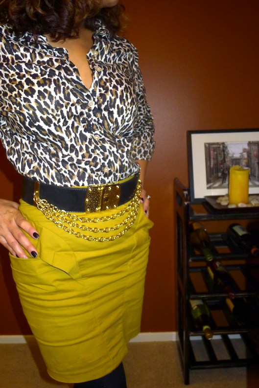J. Crew Leopard, Tight Pencil Skirt, gold belt, chain belt, vintage belt