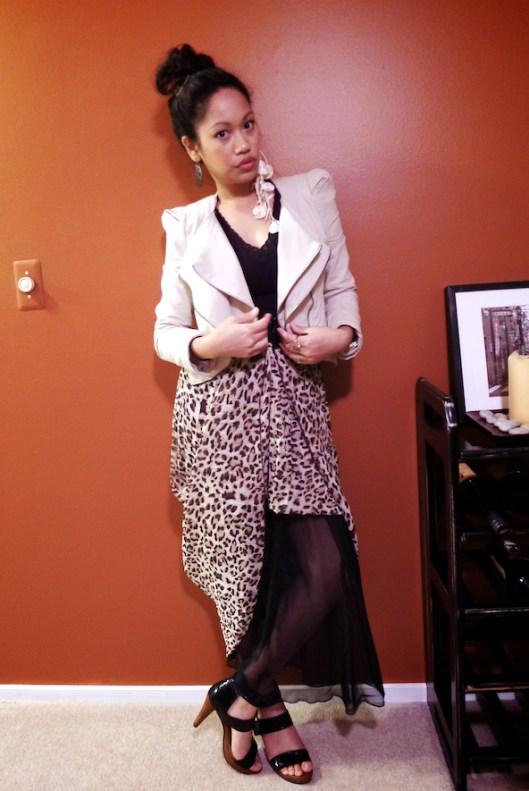 Asymmetrical leopard maxi skirt, Cropped Avant Garde Khaki Jacket, Jeffrey Campbell Strappy Sandals