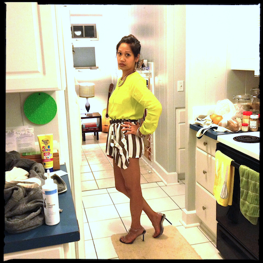 OOTD, Neon Yellow Shirt, YesStyle.com Striped Short Shorts