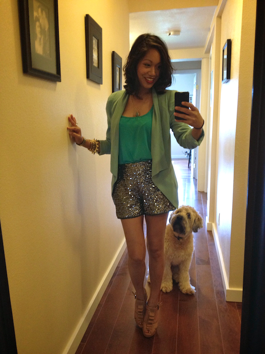Hawaii Street Style, Sequin Shorts, Aqua Color Blocking, Wheaten Terrier