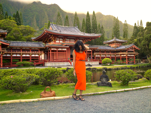 Orange Drape maxi dress, LOST Temple, Hawaii Street Style, Valley of the Temples