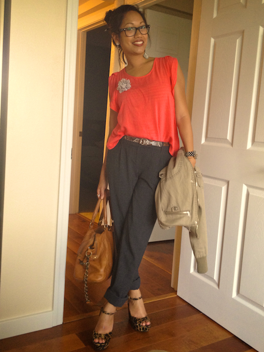 Hawaii Street Style, Spring Brights Trend, Coral Trend, Armswag, Leopard Wedge Heels