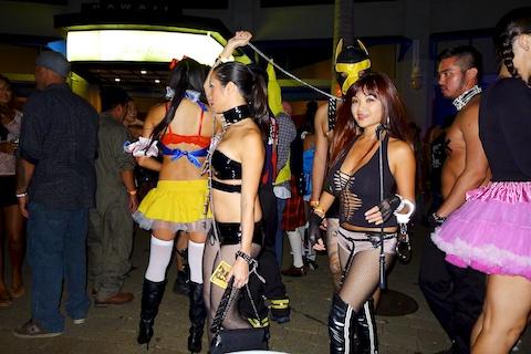 thereafterish, Aloha Tower Halloween Party, dominatrix posse costume
