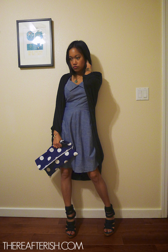 thereafterish, ootd, hawaii fashion blogger, chambray 50s dress, chambray dress, polka dot clutch