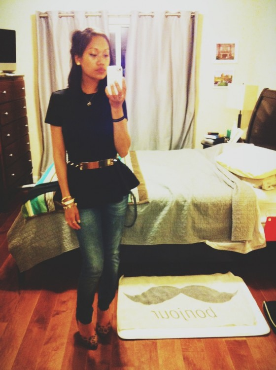 thereafterish, ootd, work outfit, peplum top, gold mirror bel,t leopard heels