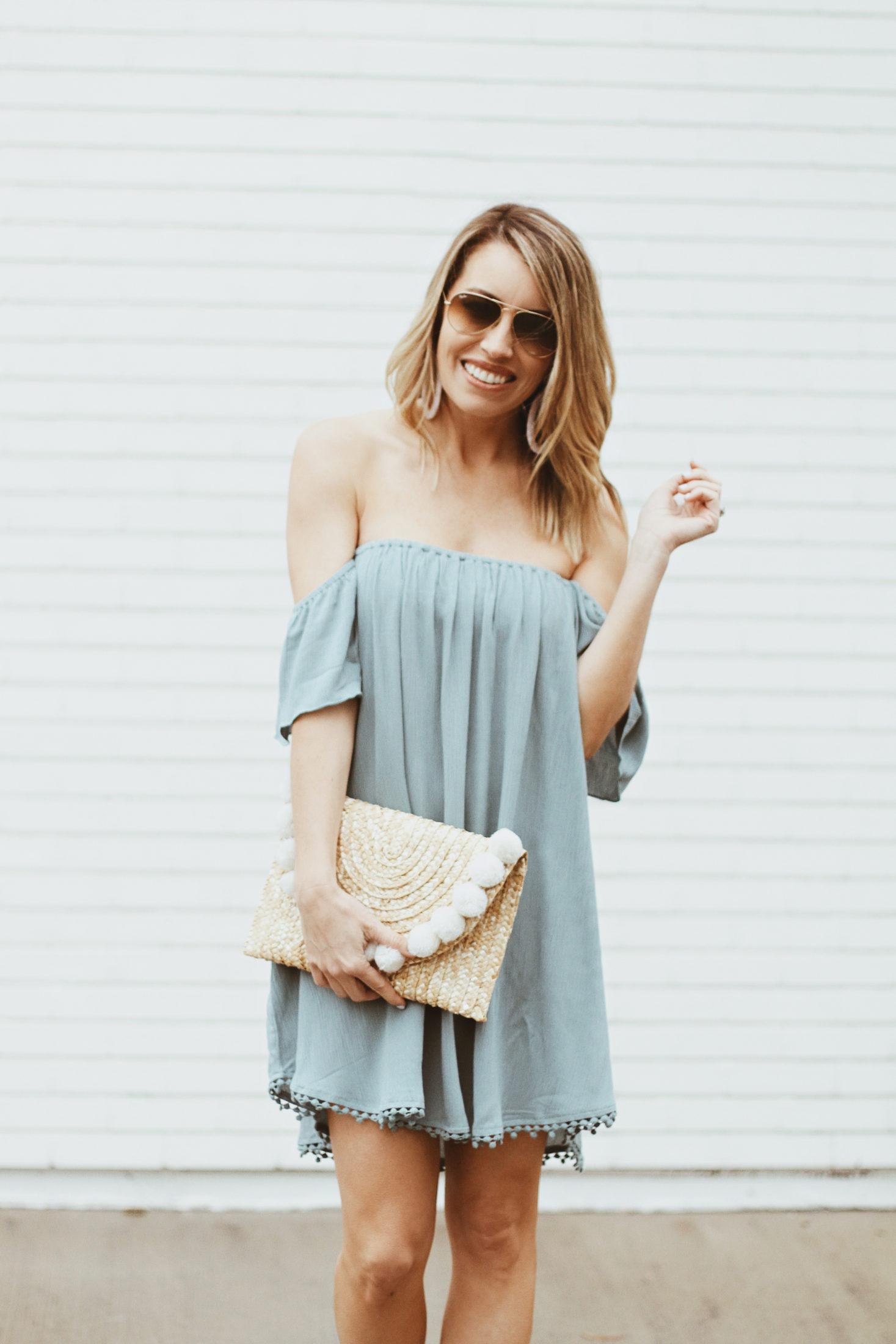 1c1eef6950 blue dress - blue flowy dress - off the shoulder dress - dress with crochet  hem ...