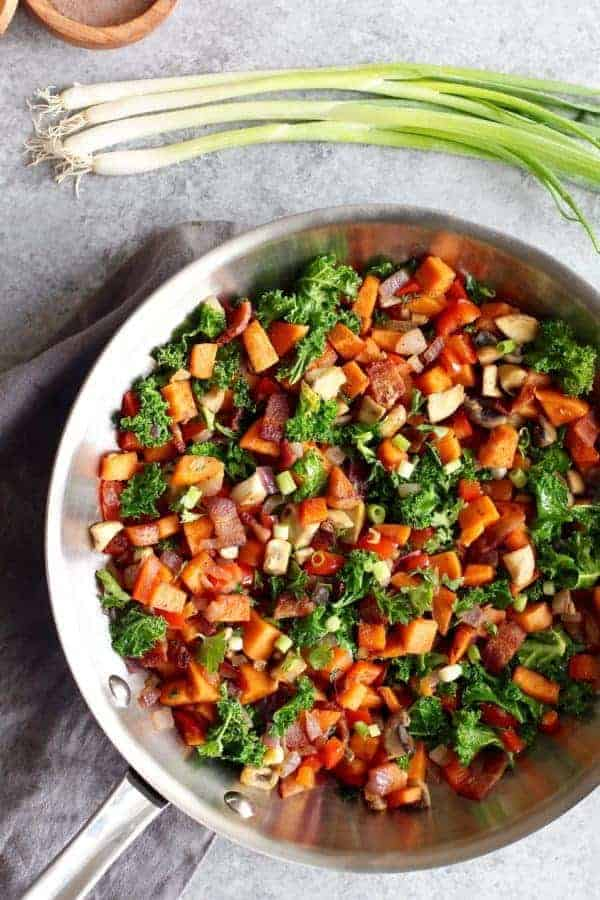 Sweet Potato Hash with Bacon | The Real Food Dietitians | http://therealfoodrds.com/sweet-potato-hash-recipe/