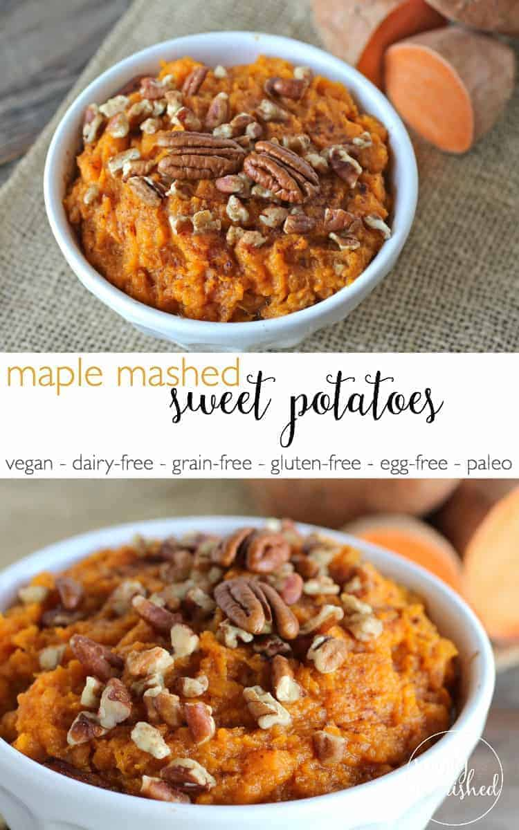Maple Mashed Sweet Potatoes | healthy sweet potato recipes | vegan sweet potato recipe | dairy-free sweet potato recipe | grain-free sweet potato recipe | gluten-free sweet potato recipe | egg-free sweet potato recipe | paleo sweet potato recipe || The Real Food Dietitians #vegansides #glutenfreesides #paleosides