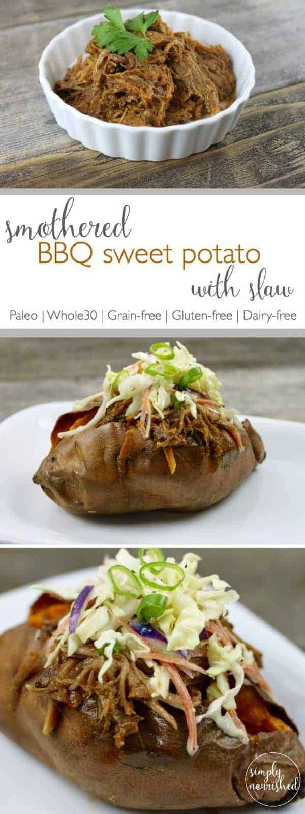 BBQ Sweet Potato with Slaw | Everything you need is right here in one dish! This baked sweet potato topped with tangy BBQ beef and creamy, crunchy coleslaw is easy to pull together with a little advance prep so you can get dinner on the table fast | https://therealfoodrds.com/smothered-bbq-sweet-potato-with-slaw-recipe/