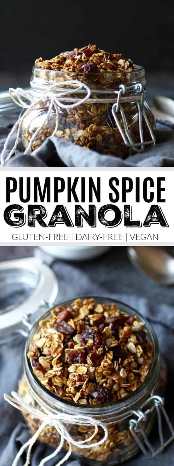 Pumpkin Spice Granola   It wouldn't be fall without all things pumpkin! Feel free to mix and match the nuts, seeds and dried fruit to make it your own and serve with milk of choice or yogurt (or straight from the jar).