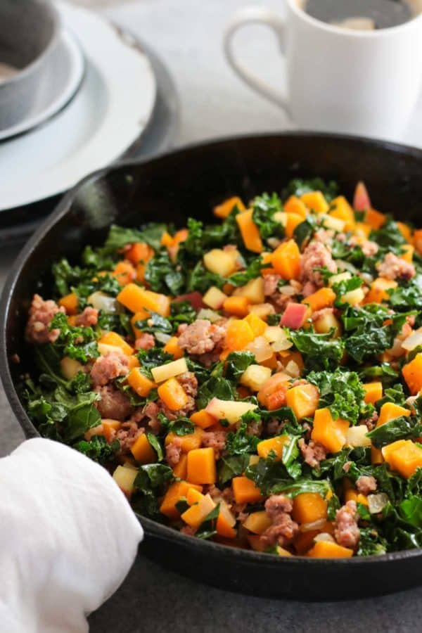 Butternut Squash and Apple Hash with Sausage | The Real Food Dietitians | https://therealfoodrds.com/butternut-squash-and-apple-hash-with-sausage/