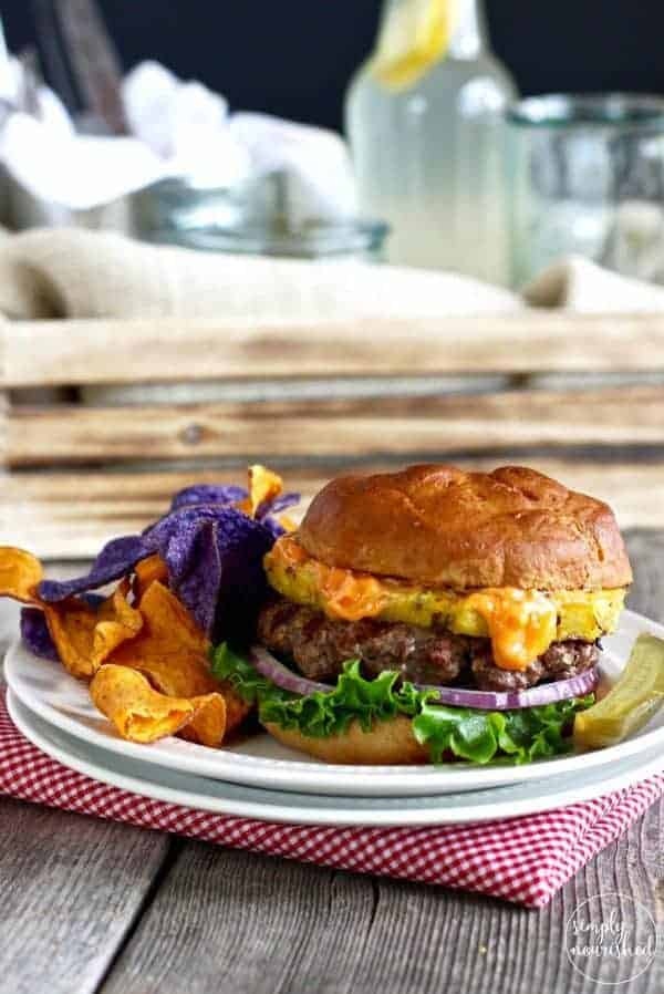 Bison Burger with Grilled Pineapple and Sriracha Aioli | Gluten-free, Dairy-free plus Egg-free and Paleo options | https://simpynourishedrecipes.com/bison-burger-pineapple-sriracha-aioli/