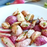 Garlic Roasted Radishes {What's in Season?}