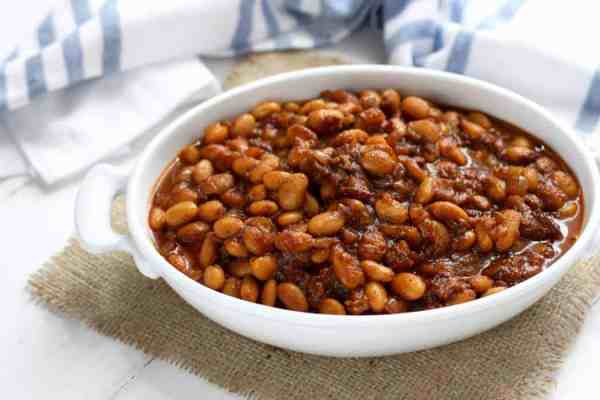 Slow Cooker Baked Beans with Bacon   The Real Food Dietitians   https://therealfoodrds.com/slow-cooker-baked-beans-bacon/