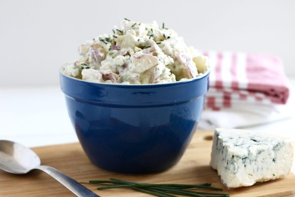 Blue Cheese Potato Salad with Chives | Gluten-free + Grain-free | https://therealfoodrds.com/blue-cheese-potato-salad-with-chives/