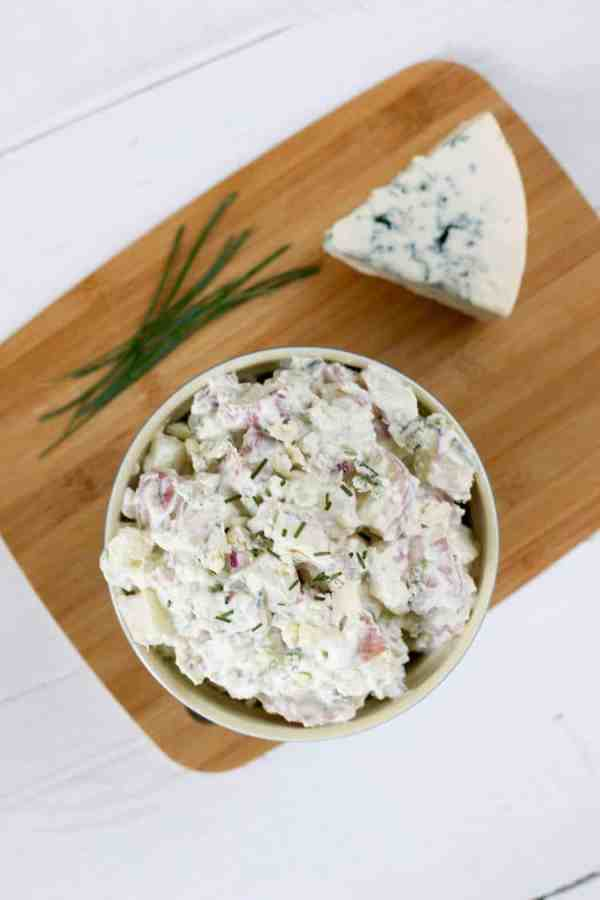 Blue Cheese Potato Salad with Chives | Gluten-free + Grain-free | gluten free potato salad recipes | recipes using blue cheese | gluten free side dishes | dairy free potato salad | dairy free side dishes | easy potato salad recipes | how to make gluten free potato salad | vegetarian side dishes || The Real Food Dietitians