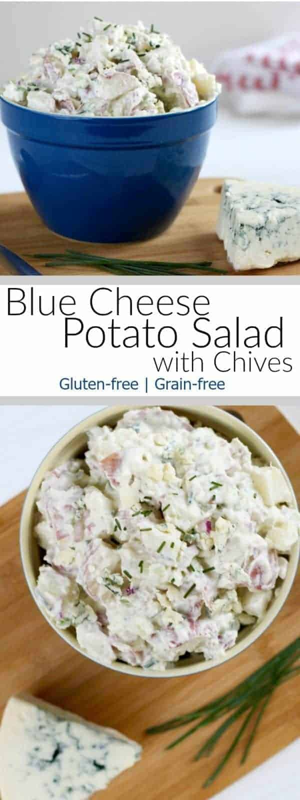 Blue Cheese Potato Salad with Chives | This potato salad is so good it made me late for my own wedding! https://therealfoodrds.com/blue-cheese-potato-salad-with-chives/