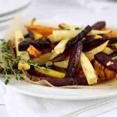 Garlic Roasted Root Vegetable Fries