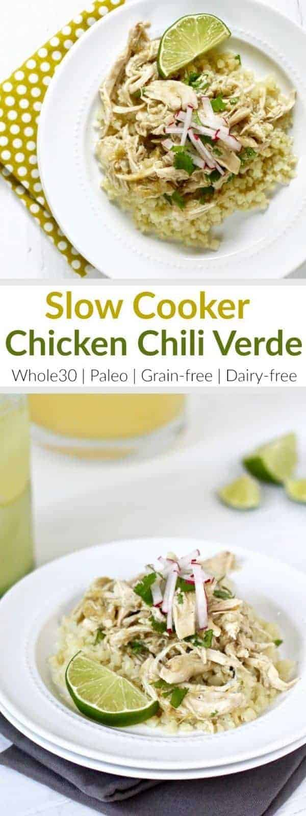 Slow Cooker Chicken Chili Verde | It hardly gets any easier than this recipe with just 5 ingredients! Look for a salsa verde without preservatives or added sugars - we like the Trader Joe's Salsa Verde because it's just tomatillos, green chiles, water, onions, jalapenos, salt and spices. Serve over cauliflower rice or tucked into lettuce wraps | Whole30 | Paleo | Grain-free | Dairy-free | therealfoodrds.com