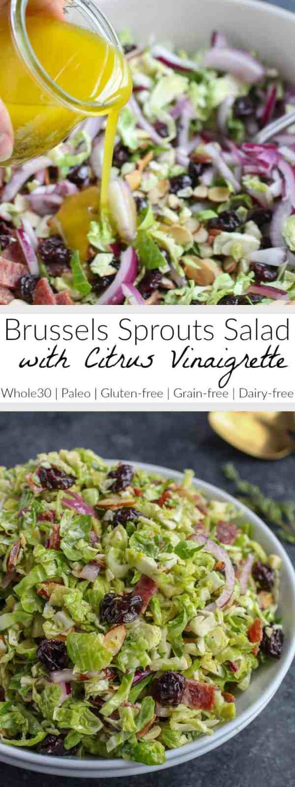 Shredded Brussels Sprouts with Citrus Vinaigrette | whole30 salad recipes | whole30 dressing recipes | whole30 side dishes | healthy side dish recipes | gluten-free side dishes | brussels sprouts recipe ideas | paleo side dishes | grain-free side dishes | dairy-free side dishes || The Real Food Dietitians #brusselssproutssalad