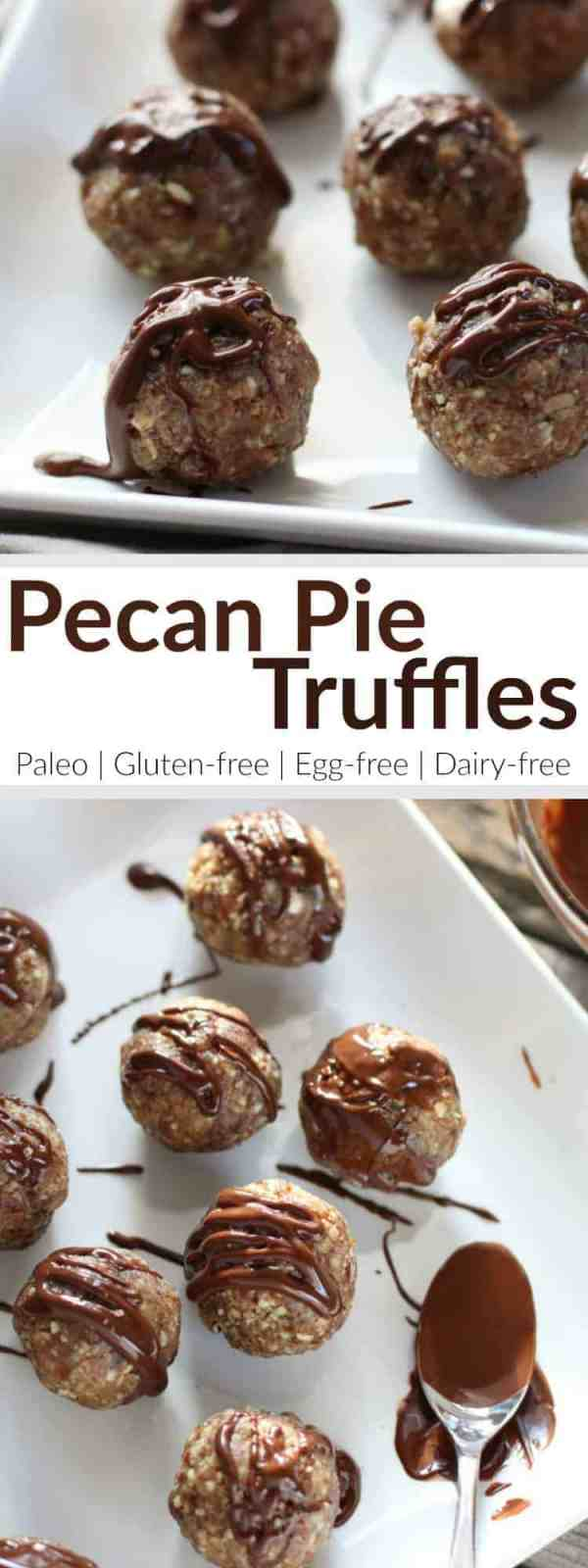 We took the best parts of the pie, added protein and then drizzled them with chocolate in these irresistible No-Bake Pecan Pie Truffles | Paleo | Grain-free | Gluten-free | Egg-free | Dairy-free | therealfoodrds.com