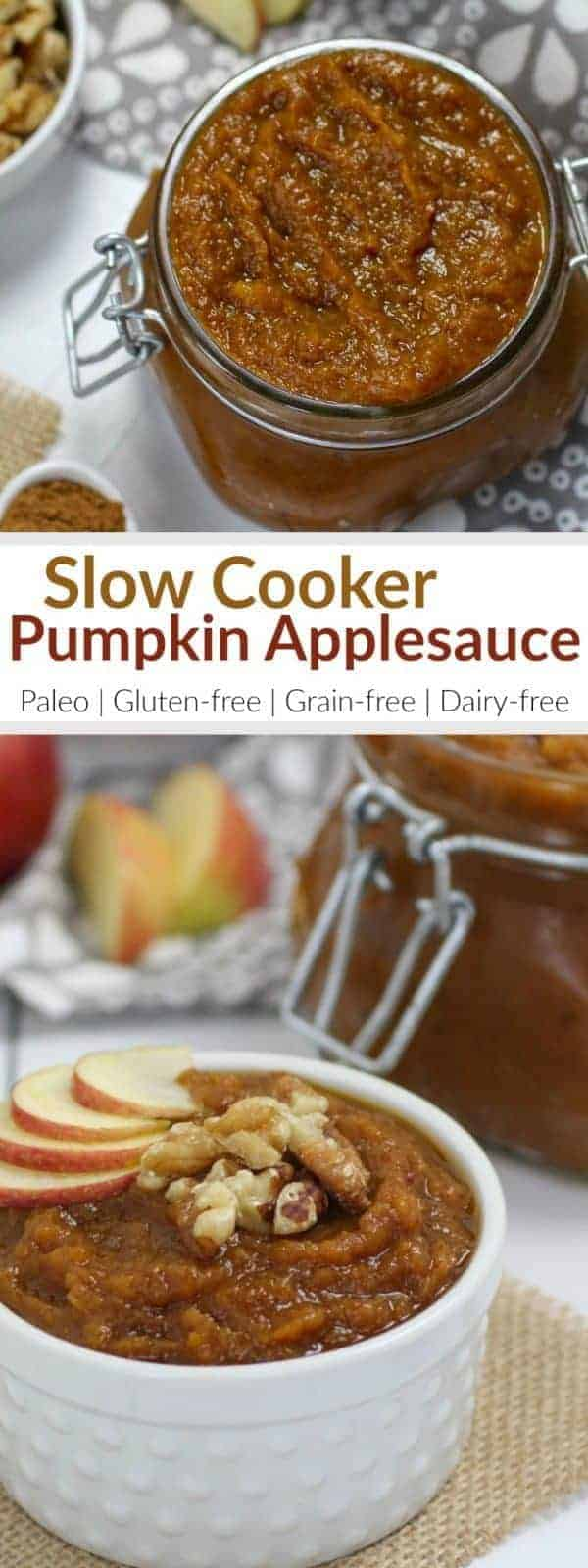 This Slow-Cooker Pumpkin Applesauce not only makes for the most delicious breakfast or snack when served with yogurt but it will also fill your home with a beautiful, flavors of Fall aroma. | healthy slow cooker recipes | healthy crockpot recipes | healthy applesauce recipes | how to make homemade applesauce | healthy pumpkin recipes | healthy fall recipes | paleo pumpkin recipes | gluten free pumpkin recipes | dairy free pumpkin recipes | unique applesauce recipes || The Real Food Dietitians