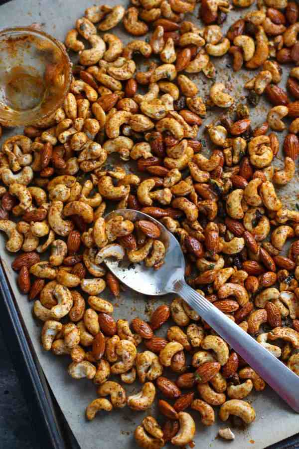 Chili and Rosemary Roasted Nuts| Paleo + Whole30 | The Real Food Dietitians | http://therealfoodrds.com/chili-rosemary-roasted-nuts/