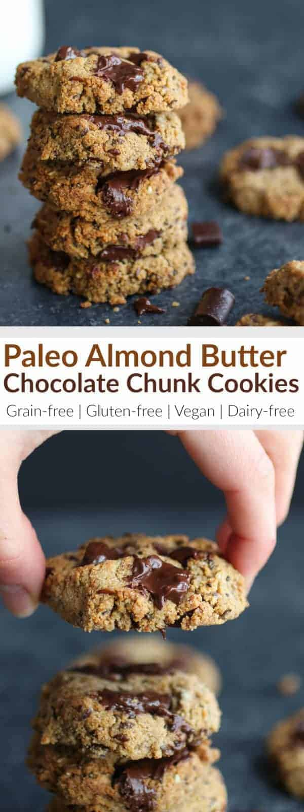 Paleo Almond Butter Chocolate Chunk Cookies | grain-free cookie recipes | gluten-free cookie recipes | vegan cookie recipes | dairy-free cookie recipes | paleo cookie recipes || The Real Food Dietitians #healthycookierecipe #paleocookies #glutenfreecookies