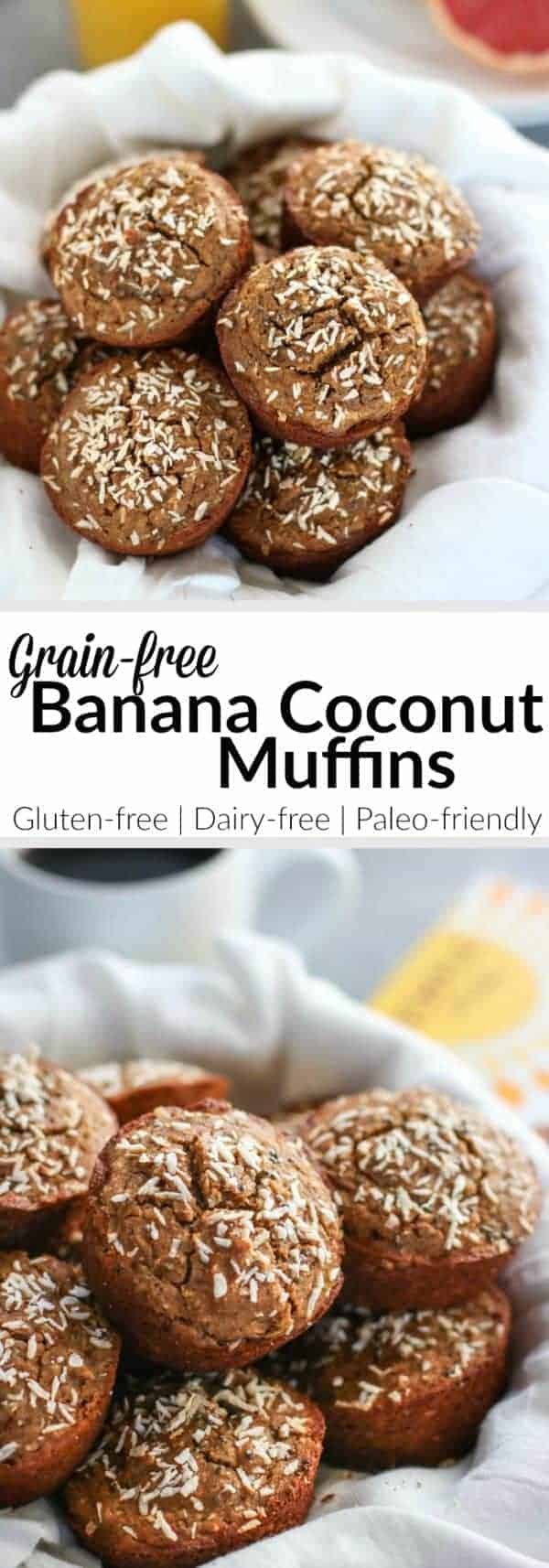 Grain-Free Banana Coconut Muffins | Grain-free, dairy-free Banana Muffins made with coconut and chia seeds to make your breakfast life a whole lot easier. Feel free to add mix-ins of your choice such as nuts, seeds, frozen berries or even leftover crumbled bacon! | therealfoodrds.com