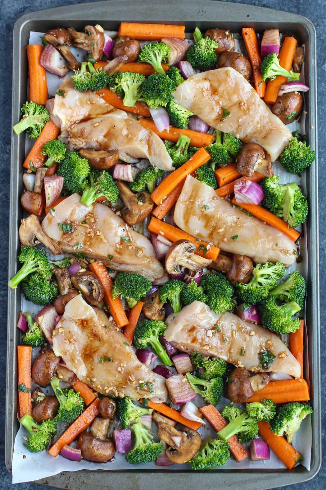 One Pan Balsamic Chicken Veggie Bake The Real Food