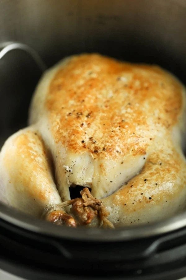 A close-up of a whole chicken with a beautifully browned skin inside of an Instant Pot before cooking under high-pressure.