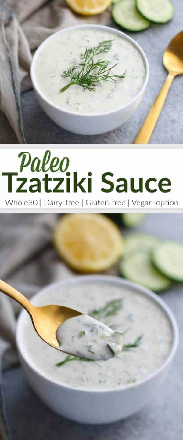 Paleo Tzatziki Sauce is dairy-free, Whole30-friendly and vegan-optional. It's a garlicky and flavorful Greek inspired sauce made with just 6 simple, real food ingredients | Whole30 | Dairy-free | Gluten-free | Vegan-option | therealfoodrds.com