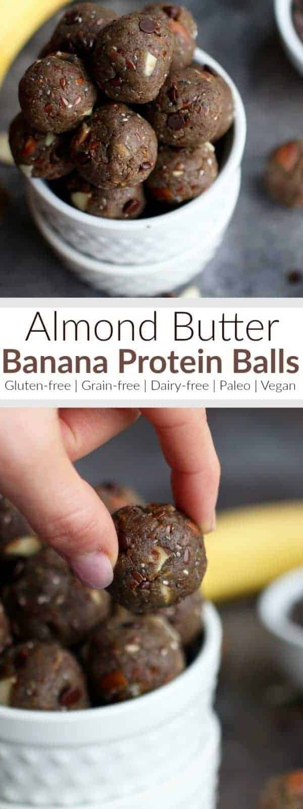 Almond Butter Banana Protein Balls are the perfect bite size snack that contain a healthy source of proteins, fats and carbs and with 5 grams of fiber and only 5 grams of sugar per serving they make for a great pre-workout snack or a sensible after dinner treat. | Paleo | Gluten-free | Grain-free | Dairy-free | Vegan-friendly | therealfoodrds.com