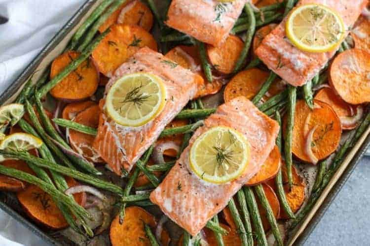 One-pan Salmon and Veggie Bake