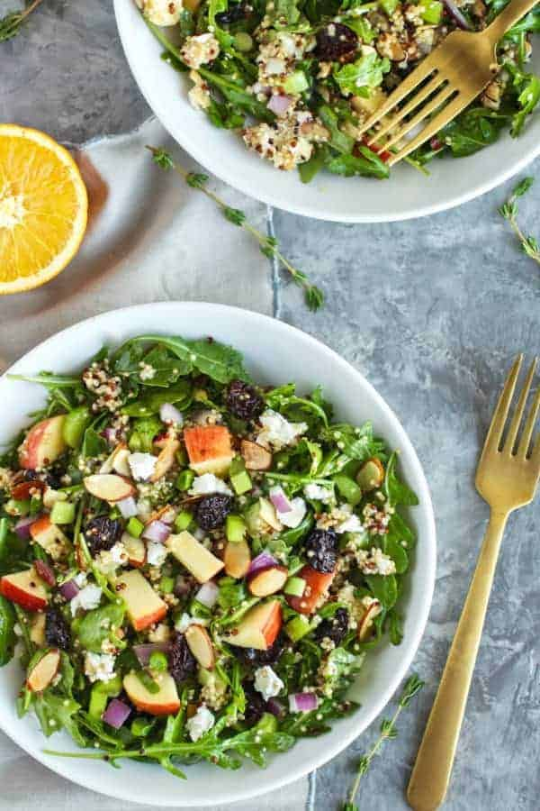 Arugula Salad with Apples, Almonds, Quinoa and Goat Cheese