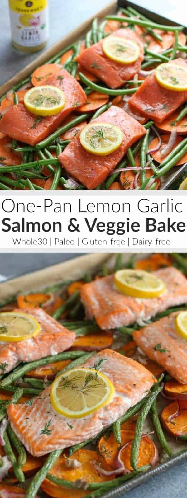 One Pan Salmon & Veggie Bake | Make life easier this week with our One-Pan Salmon and Veggie Bake. Just one pan and minimal clean up! Whole30 | Gluten-free | Dairy-free | Paleo | https://therealfoodrds.com/one-pan-salmon-and-veggie-bake/