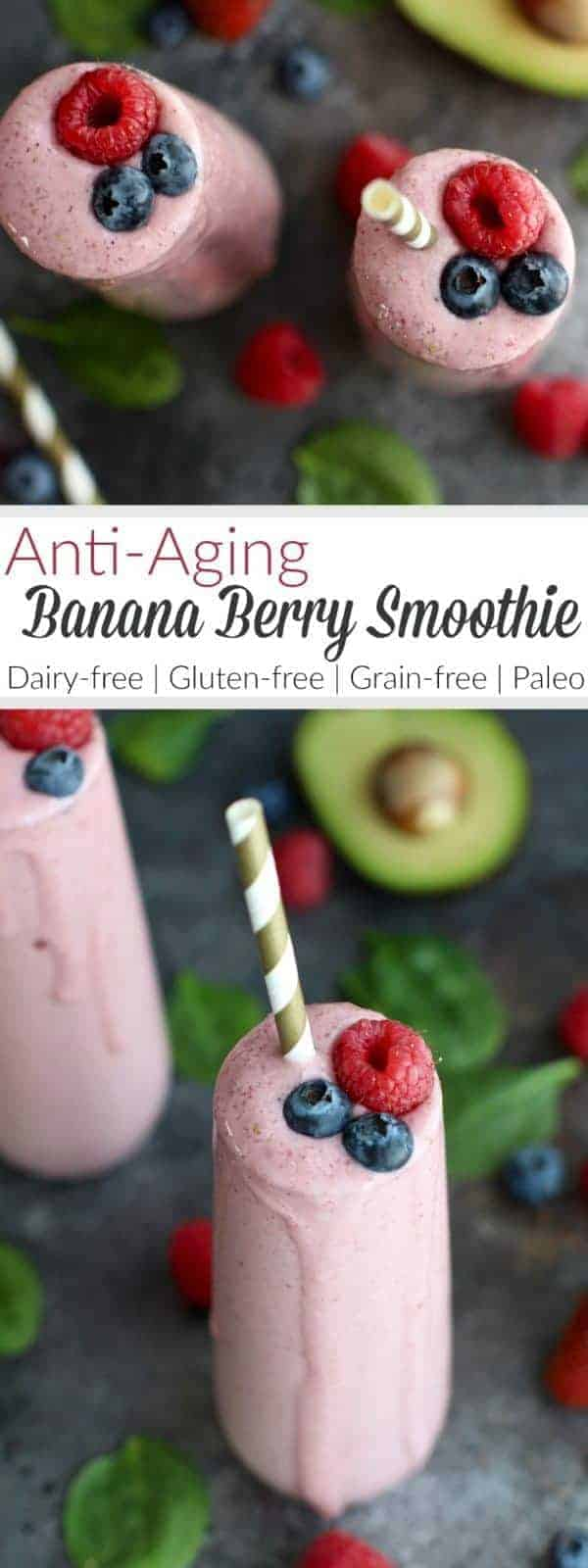 Sip your way to healthier joints, skin, hair and nails with this Anti-Aging Banana Berry Smoothie. Made with Primal Kitchen's Collagen Fuel. | Dairy-free, Gluten-free, Grain-free, Paleo | therealfoodrds.com