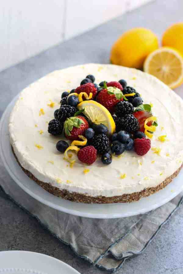 No-Bake Lemon Cheesecake | The Real Food Dietitians | https://therealfoodrds.com/no-bake-lemon-cheesecake/